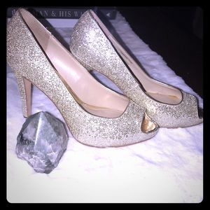 WHITE house BLACK market- Gold Sequin Pump